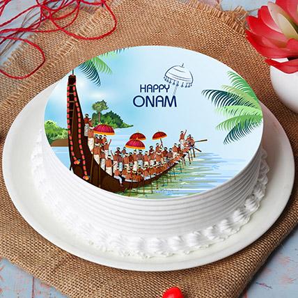 Happy Onam Vallam Kali Photo Cake: Onam Gifts