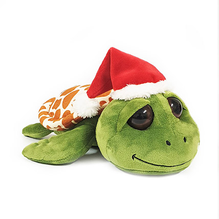 Cute Green Turtle With Santa Hat: