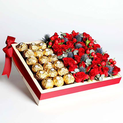Exotic Roses and Chocolates Arrangement: New Arrival Gifts in Dubai