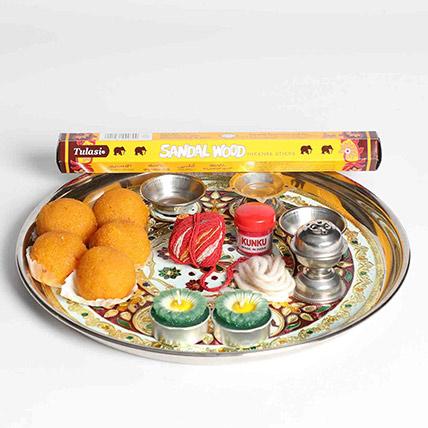 Spiritual Thali With Sweets: Diwali Candles