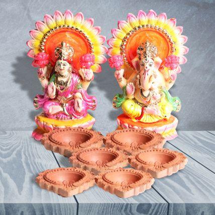 Lakshmi Ganesha Idol and Diya Set: Diyas