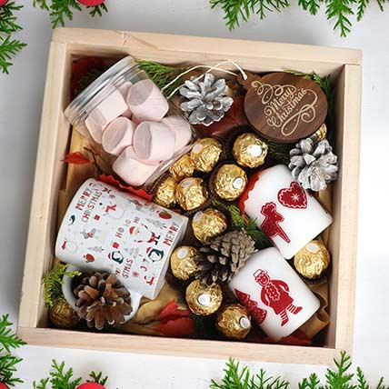 Christmas Wishes in Wooden Tray: christmas chocolates