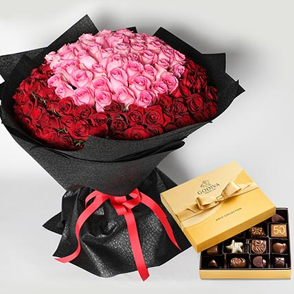 Godiva and 150 Roses Bouquet: Valentines Day Chocolates