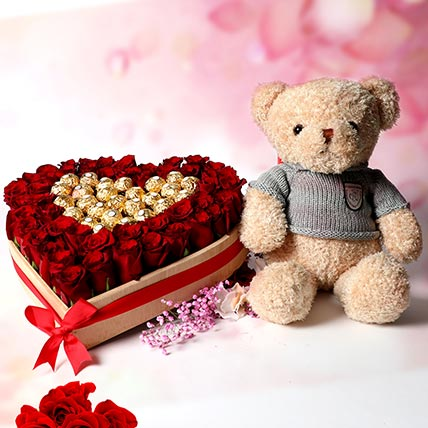 Tenderness Of Loves: Flowers and Teddy Bears