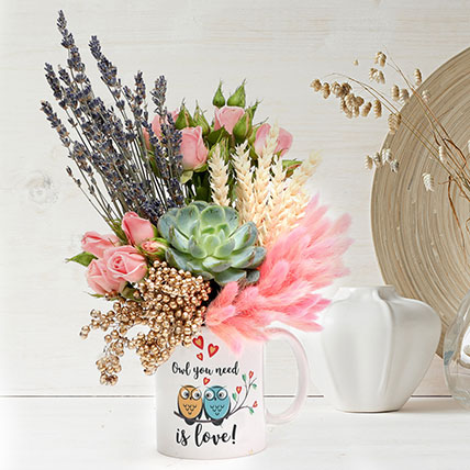 Lovely Floral Arrangement In Owl You Need Is Love Mug: Dried Flower Bouquet