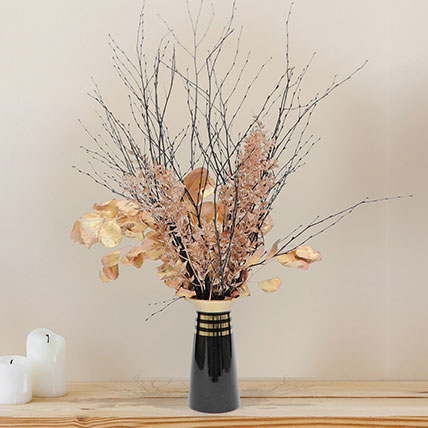 Lovely Mixed Flowers In Vase: Dried Flower Bouquet