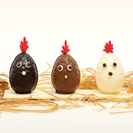 Easter Special Milk And Chocolate Hen Shape Egg Trio: Chocolate Easter Eggs