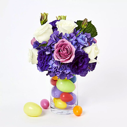 Blissful Assorted Flowers Arrangement and Easter Eggs: Easter Flower Delivery