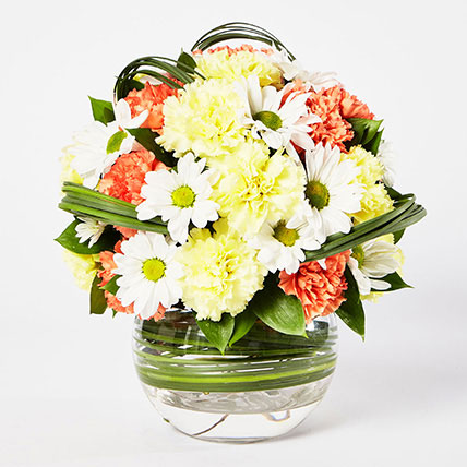 Blissful Mixed Flowers Bowl Arrangement: Carnation Flower