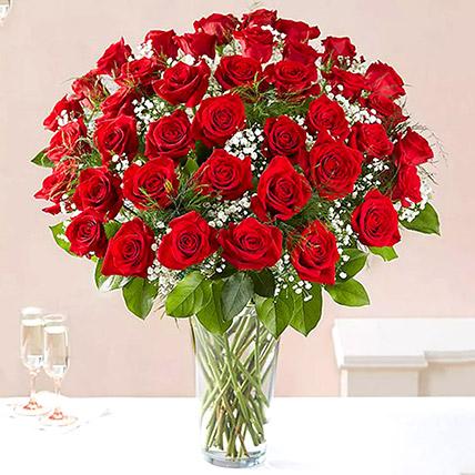 Bunch of 50 Scarlet Red Roses: Birthday Flower Arrangements
