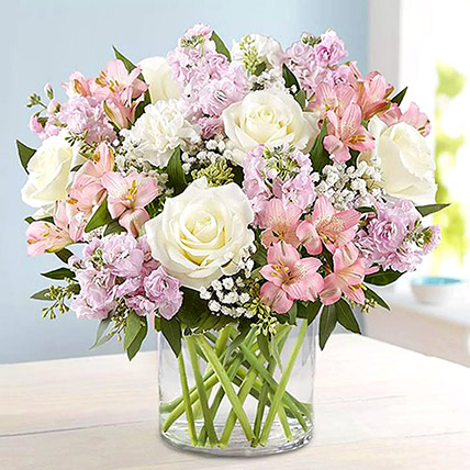 Pink and White Floral Bunch In Glass Vase: Flower Arrangements