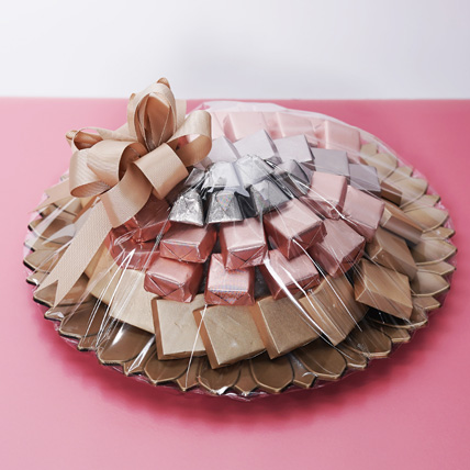 Pink and Golden Chocolate Tray: Send Chocolates in Abu Dhabi