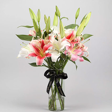 White and Pink Lily Arranagement: New Arrival Flowers