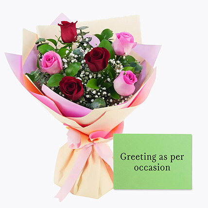 Attractive Roses Bouquet With Greeting Card: Flowers With Greeting Cards
