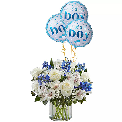 Blue and White Flower Arrangement With Balloons: