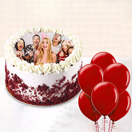 1 kg Red Velvet Photo Cake With Balloons: Gifts Offers