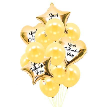 Heart n Star Shaped Customized Text Golden Balloons: Balloons