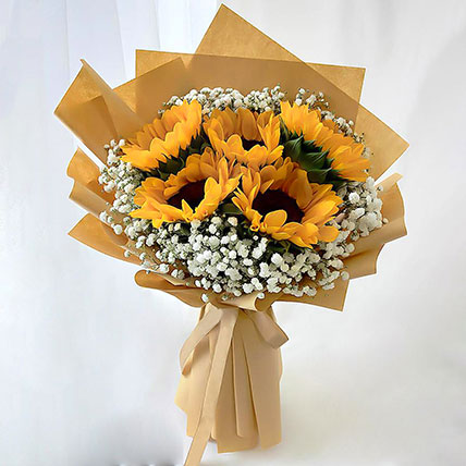 Ravishing Sunflowers Beautifully Tied Bouquet: New Arrival Gifts