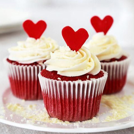 Red Velvet Love Cupcakes Set Of 6: Girlfriends Day Gifts