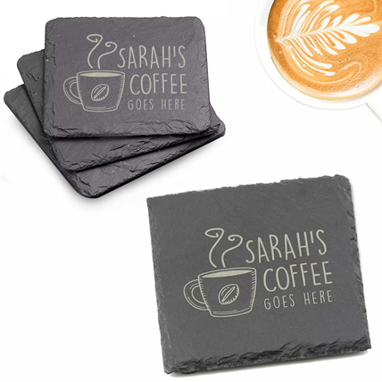 Personalised Slate Coaster With Engraved Text 4 Pieces: Kitchen Accessories
