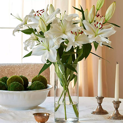 Happiness With Lilies Arrangement: Lilies Bouquet