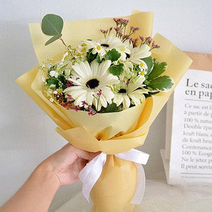 Peaceful White Gerberas Beautifully Tied Bouquet: Gerberas Bouquet