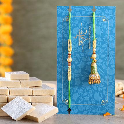 Ethnic Green Pearl And Lumba Rakhi Set With Kaju Katli: Lumba Rakhi