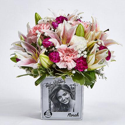 Personalised Vase Birthday Flowers: Flowers N Personalised Gifts