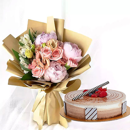 1 kg Triple Chocolate Cake With Peonies Bouquet: New Arrival Combos