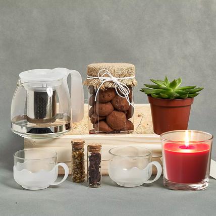 Tea n Cookies Gift Tray: Tea Hampers