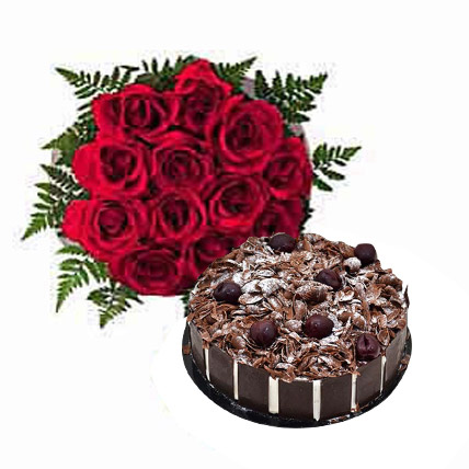 Dozen Roses with Blackforest Cake OM:  Cake Delivery in Muscat
