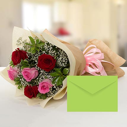 Attractive Roses Bouquet With Greeting Card QT: Send Gifts to Qatar