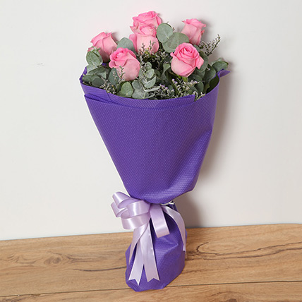 Bouquet Of Pink Roses QT: Send Gifts to Qatar