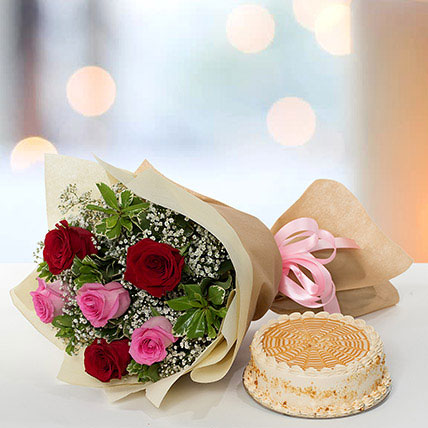Delightful Roses Bouquet With Butterscotch Cake QT: