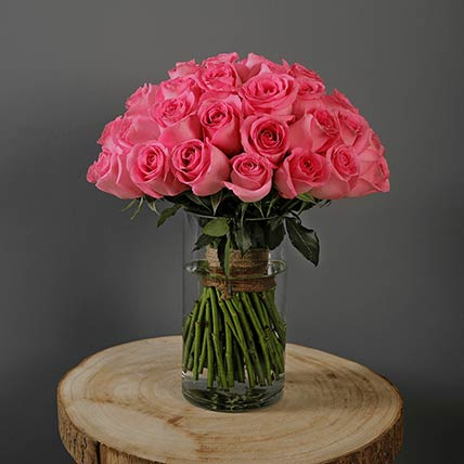 Stems Pink Roses Vase: Send Gifts to Qatar