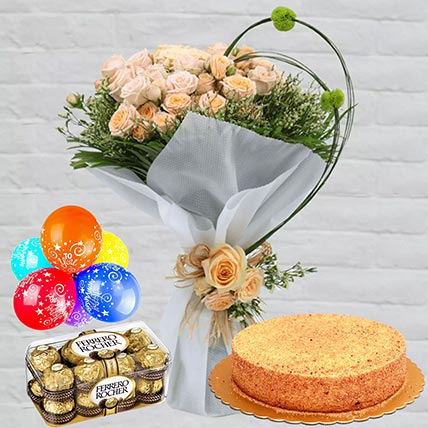 Honey Cake With Peach Roses Combo: