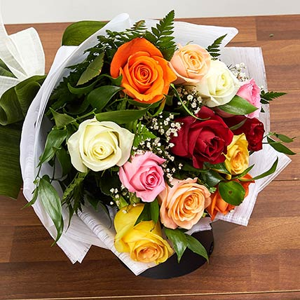 12 Mixed Color Roses Bouquet: Flowers to Riyadh