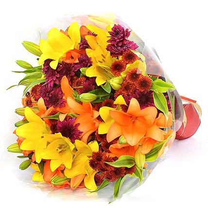 Vibrant Lilies and Chrysanthemums:  Flower Delivery Sri Lanka
