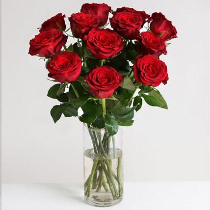 Dozen Of Burgundy Roses:  Gifts UK