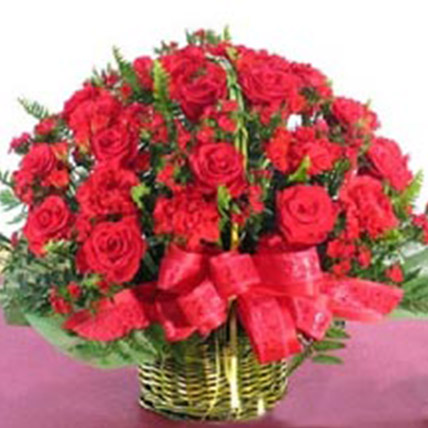 The Basket Of Red Florals