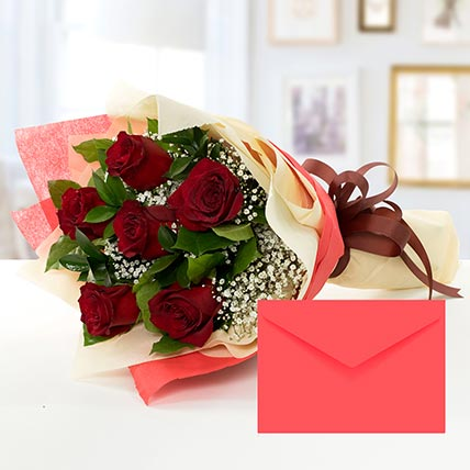 6 Red Roses Bouquet With Greeting Card EG