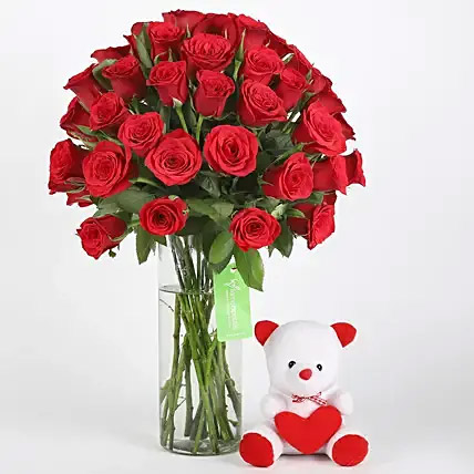 50 Red Roses and Teddy Combo