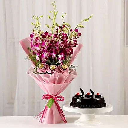 Chocolaty Orchids Bouquet and Truffle Cake