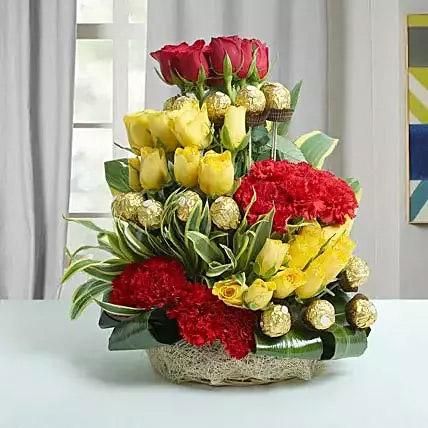 Mixed Flowers and Ferrero Rocher Arrangement