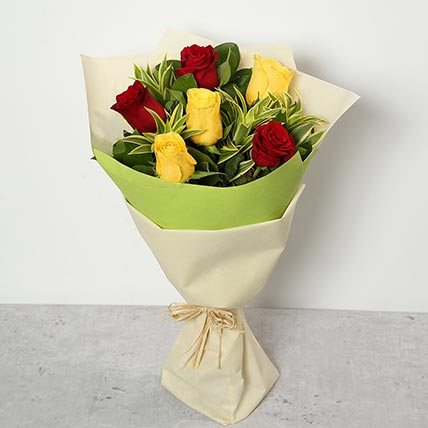 Red and Yellow Roses Bouquet KT
