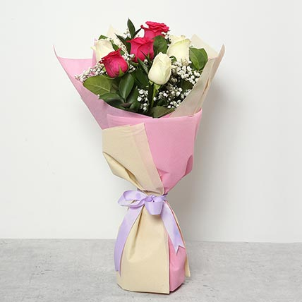 3 Pink And 3 White Roses Bouquet