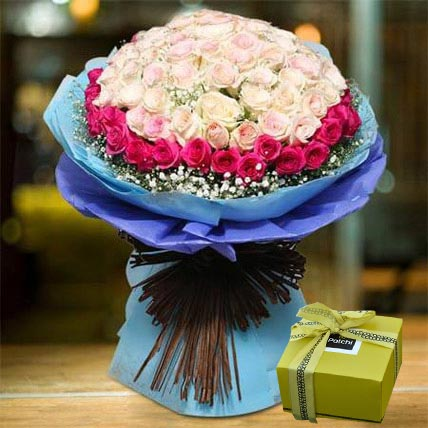 Royal Roses Bouquet And Patchi Chocolate Combo