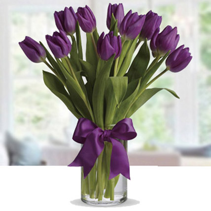 10 Purple Tulip Arrangement