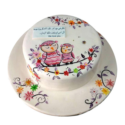 Birthday Owl Cake with Flowers
