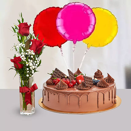 Combo Cake Chocolate Chcolate Truffle Balloon Birthday